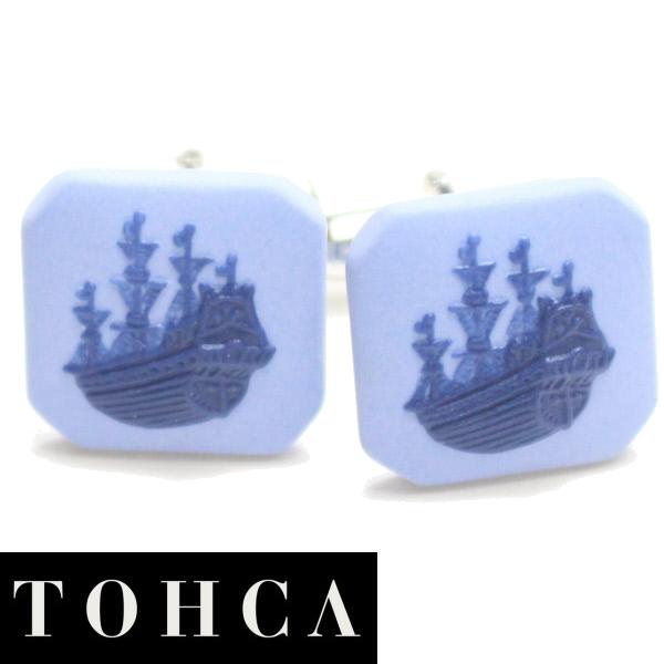 陶華 TOHCA ブルー 帆船カメオ シルバー スクウェア カフス カフリンクス カフスボタン ユニーク おもしろ 面白 面白い 乗り物 シルバー スーツアクセサリー専門店 誕生日 プレゼント プチギフト おしゃれ カフスマニア