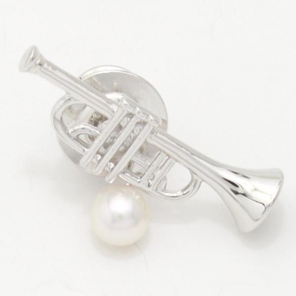 Lapel Pins U0026amp; Music Usuki On Trumpet Akoya Pearl Pearl 5.0 Mm Brooch (28)