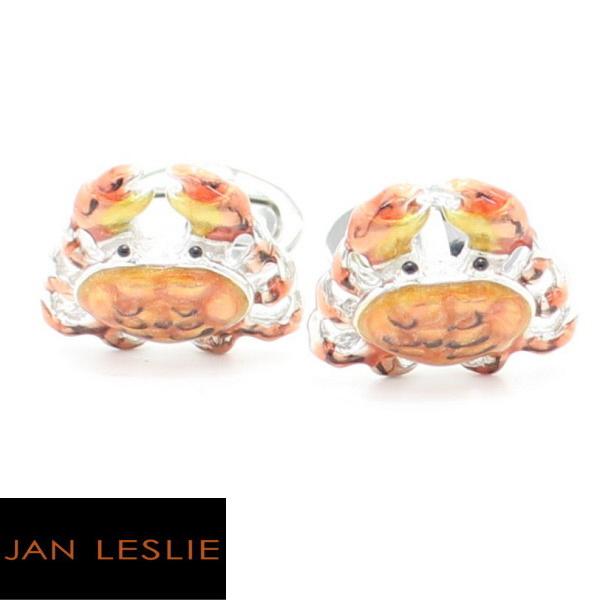 JanLeslie シルバー オレンジグラデーション 蟹 カフス カフスボタン カフリンクス cufflinks cuffs メンズ 男性 ユニーク おもしろ 面白 面白い 動物 植物シリーズ スーツアクセサリー専門店 父の日 ギフトにも 誕生日 プレゼント プチギフト おしゃれ カフスマニア