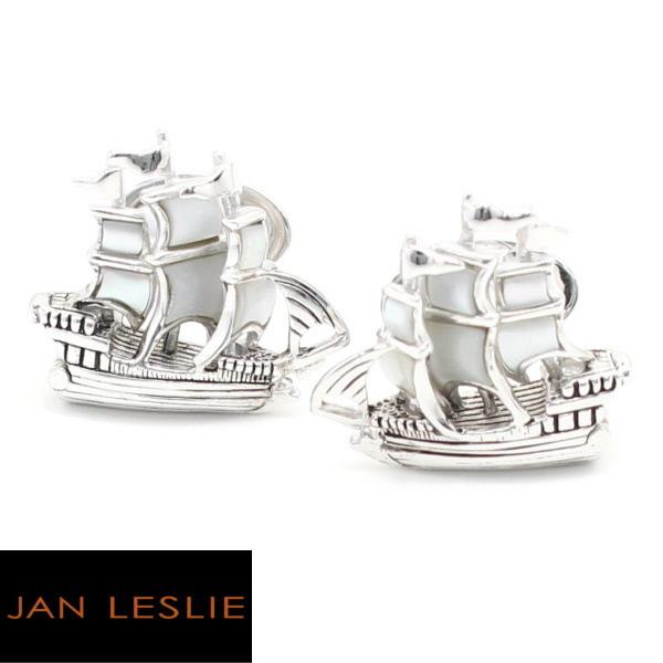 JanLeslie MOP マザーオブパール 帆船 カフス カフリンクス カフスボン cufflinks cuffs メンズ 男性 スーツアクセサリー専門店 父の日 ギフトにも 誕生日 プレゼント プチギフト おしゃれ カフスマニア