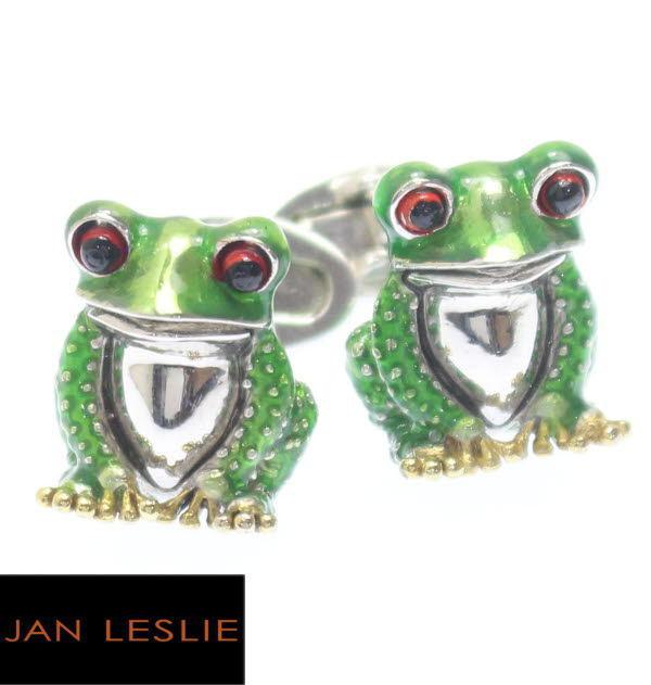ちょこんとリアル 緑の蛙 カフスJanLeslie スーツアクセサリー専門店 誕生日 プレゼント プチギフト おしゃれ カフスマニア