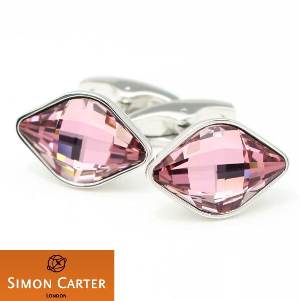 カフス サイモン カーター 英国 ブランド SIMON CARTER LEMON スワロフスキークリスタル ピンク カフス カフスボタン カフリンクス cufflinks cuffs メンズ 男性