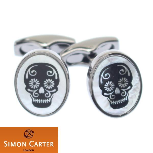 カフス サイモンカーター 英国 ブランド SIMON CARTER Black Skull ガンメタル×マザーオブパール カフス カフリンクス カフスボタン スーツアクセサリー専門店 誕生日 プレゼント プチギフト おしゃれ カフスマニア
