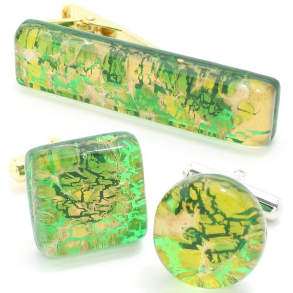 全2種 ムラーノ ベネチアンガラス ゴールド×グリーン ビッグ カフスセット タイピンセット カフス 誕生日 贈り物 ゴールド カフスマニア