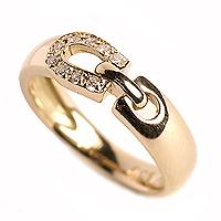【送料無料】大人気♪ K18ピンクゴールド 馬蹄 ダイヤモンド ピンキーリング シュセ【K18PG】[4-7001] 10P23Apr16