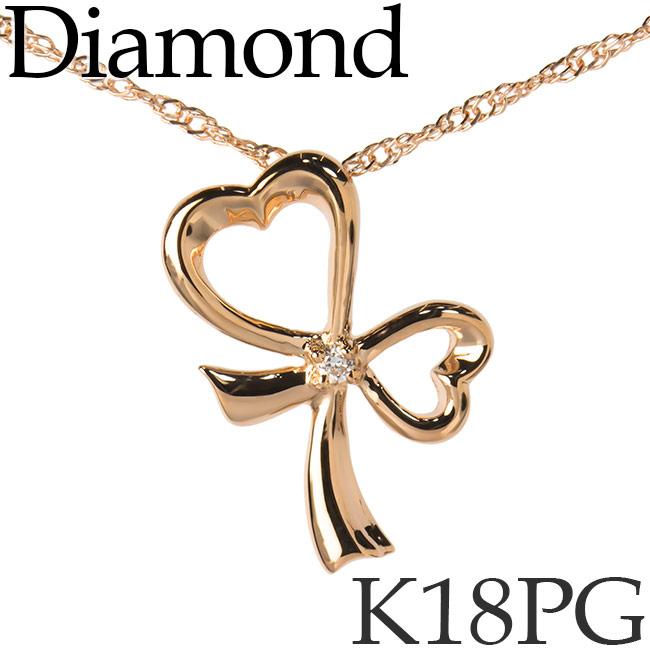 ダイヤモンド ネックレス K18ピンクゴールド リボン スクリューチェーン K18PG 18KPG 18金 送料無料