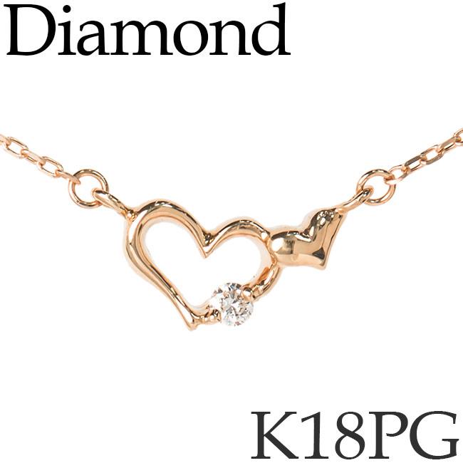 ダイヤモンド ネックレス ダブルハート K18ピンクゴールド カットアズキチェーン K18PG 18KPG 18金 送料無料 [kh]