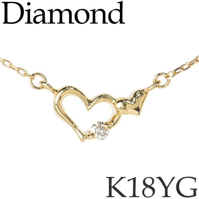 ダイヤモンド ネックレス ダブルハート K18イエローゴールド カットアズキチェーン K18YG 18KYG 18金 送料無料 [kh]