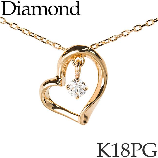 揺れるダイヤモンド ネックレス ハート K18ピンクゴールド カットアズキチェーン K18PG 18KPG 18金 送料無料 [kh][82174830]