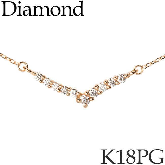 ダイヤモンド ネックレス K18ピンクゴールド カットアズキチェーン K18PG 18KPG 18金 送料無料 [kh][82172841]