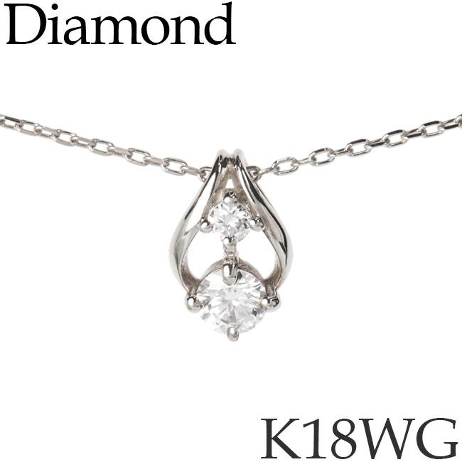 ダイヤモンド ネックレス フラワーバド K18ホワイトゴールド カットアズキチェーン K18WG 18KWG 18金 送料無料 [kh]