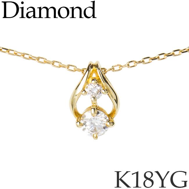 ダイヤモンド ネックレス フラワーバド K18イエローゴールド カットアズキチェーン K18YG 18KYG 18金 送料無料 [kh]