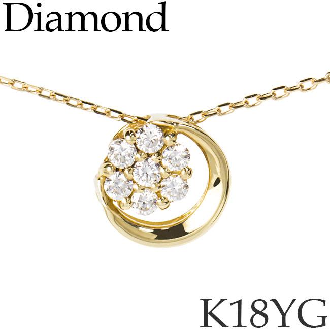 ダイヤモンド ネックレス ラウンド K18イエローゴールド カットアズキチェーン K18YG 18KYG 18金 送料無料 [kh]