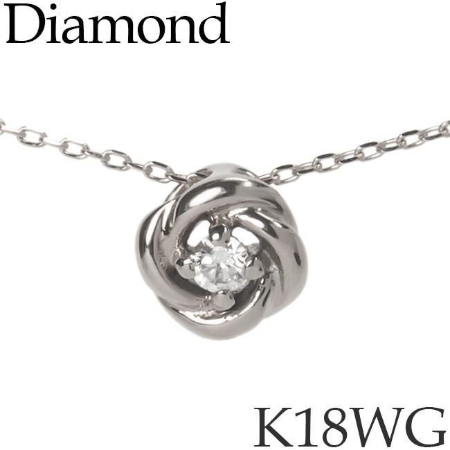 ダイヤモンド ネックレス K18ホワイトゴールド ローズバッド バラ カットアズキチェーン K18WG 18KWG 18金 送料無料 [kh][72174442]