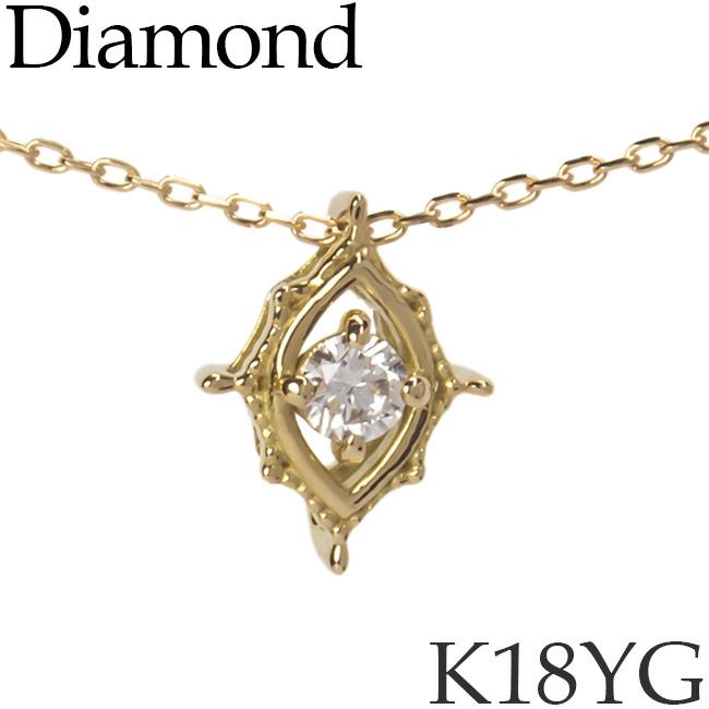 ダイヤモンド ネックレス K18イエローゴールド カットアズキチェーン K18YG 18KYG 18金 送料無料 [kh][62178568]