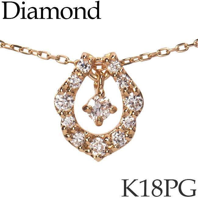 揺れるダイヤモンド ネックレス ホースシュー 馬蹄 K18ピンクゴールド カットアズキチェーン K18PG 18KPG 18金 送料無料 [kh][82178522]