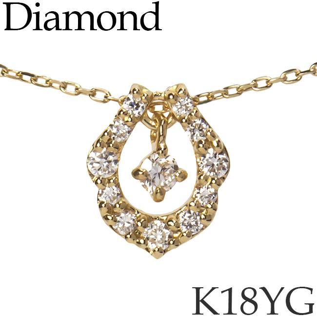 揺れるダイヤモンド ネックレス ホースシュー 馬蹄 K18イエローゴールド カットアズキチェーン K18YG 18KYG 18金 送料無料 [kh][62178522]