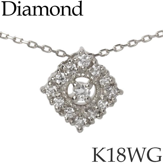 ダイヤモンド ネックレス K18ホワイトゴールド スクエア カットアズキチェーン K18WG 18KWG 18金 送料無料 [kh][72178516]