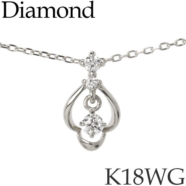揺れるダイヤモンド ネックレス K18ホワイトゴールド カットアズキチェーン K18WG 18KWG 18金 送料無料 [kh][62178476]