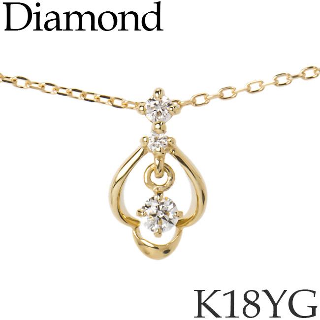 揺れるダイヤモンド ネックレス K18イエローゴールド カットアズキチェーン K18YG 18KYG 18金 送料無料 [kh][62178476]