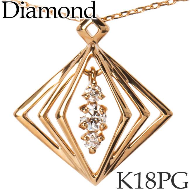 揺れるダイヤモンド ネックレス K18ピンクゴールド カットアズキチェーン K18PG 18KPG 18金 送料無料 [kh][82172847]