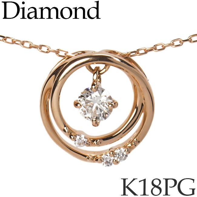 揺れるダイヤモンド ネックレス ダブルサークル K18ピンクゴールド カットアズキチェーン K18PG 18KPG 18金 送料無料 [kh][82172730]