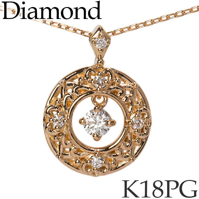 揺れるダイヤモンド ネックレス ラウンド K18ピンクゴールド カットアズキチェーン K18PG 18KPG 18金 送料無料 [kh]