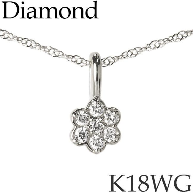 ダイヤモンド ネックレス フラワー 花 K18ホワイトゴールド カットアズキチェーン K18WG 18KWG 18金 送料無料 [kh]