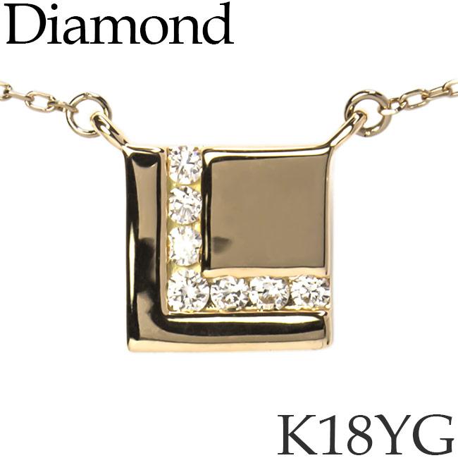 ダイヤモンド ネックレス スクエア K18イエローゴールド カットアズキチェーン K18YG 18KYG 18金 送料無料 [kh]