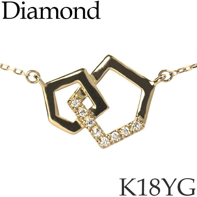 ダイヤモンド ネックレス ペンタゴン K18イエローゴールド カットアズキチェーン K18YG 18KYG 18金 送料無料 [kh][62178635]