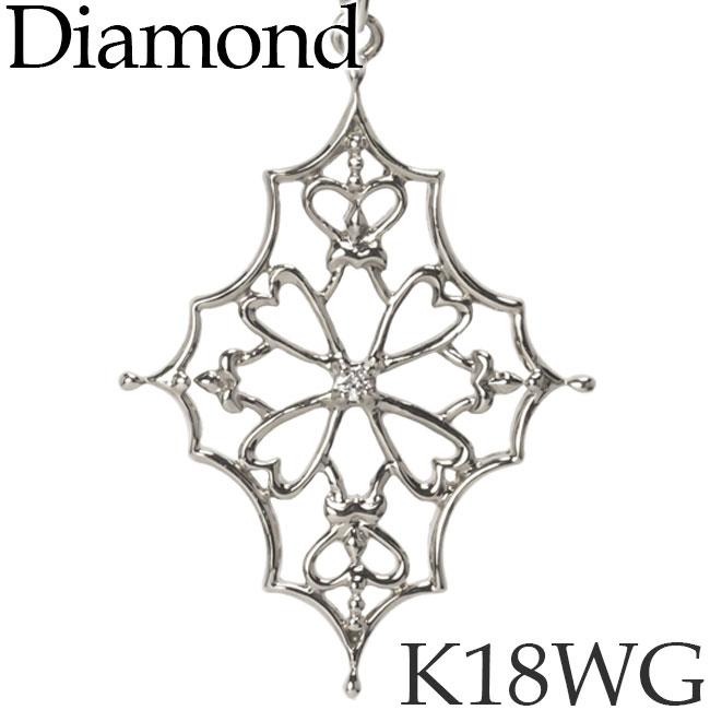 ダイヤモンド ネックレス K18ホワイトゴールド ヒイラギ ホリー カットアズキチェーン K18WG 18KWG 18金 送料無料 [kh][72178346]