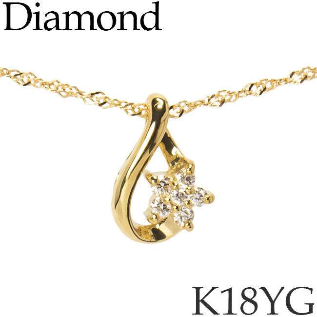 ダイヤモンド ネックレス K18イエローゴールド スター ドロップ スクリューチェーン K18YG 18KYG 18金 送料無料 [kh][62176944]