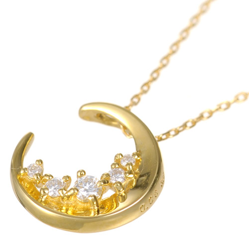 e69f259a6f6d9 K18 diamond necklace Diana necklace K18 18-karat gold 18k gold diamond  crescent moon Lady's pendant moon pink gold jewelry accessories fashion