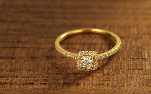 K18 ダイヤモンド リング eclat square  リング K18 18金 18k ゴールド ダイヤモンド ダイヤ 指輪 レディース  ピンクゴールド ジュエリー アクセサリー おしゃれ 重ね着け