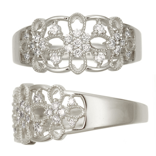 Pt900 プラチナダイヤモンドリング florist  リング Pt プラチナ ダイヤモンド 指輪 レディース ジュエリー アクセサリー シンプル アンティーク