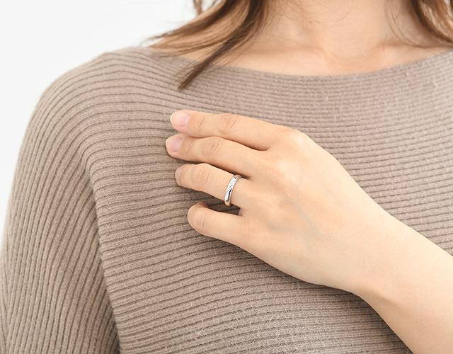 Pt900ダイヤモンドリング YAKUSOKU L's プラチナ 指輪 結婚指輪 マリッジリング ペアリング ファッションリング 重ね付け シンプル ペア