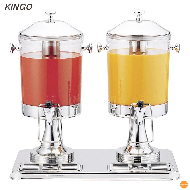 KINGO ジュースディスペンサー 10402-2 6L 2連タイプ FZY-44[関連:キンゴー 業務用 ホテル パーティー ビュッフェ ドリンク ディスペンサー サーバー]