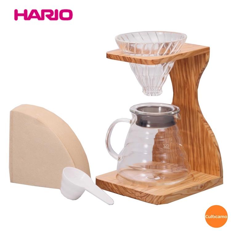 ハリオ V60オリーブウッド スタンドセット VSS-1206-OV FAM-01[関連:HARIO おしゃれ コーヒー用品 耐熱ガラス デザイン ドリッパー サーバー スタンド]