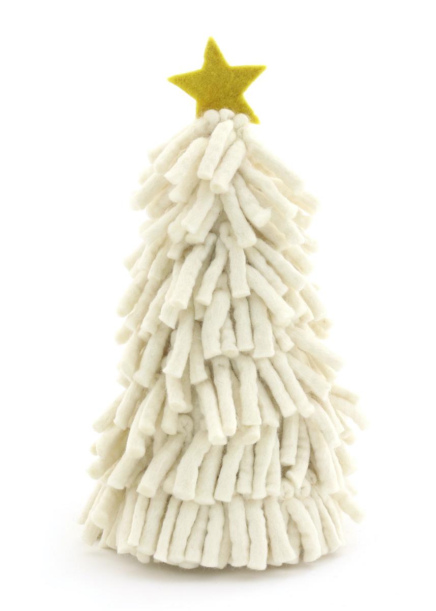 蔵 温かみのあるウールフェルトをひとつひとつ心をこめて手作りしたクリスマス オーナメント達 merry カラー:WHITE モジャツリー ウール100% 高級