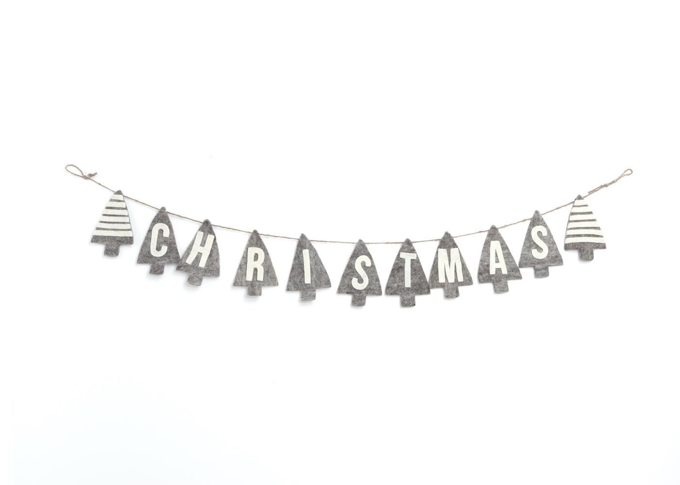 値引き 温かみのあるウールフェルトをひとつひとつ心をこめて手作りしたクリスマス オーナメント達 merry ツリーガーラント 限定モデル ウール100% カラー:GREY