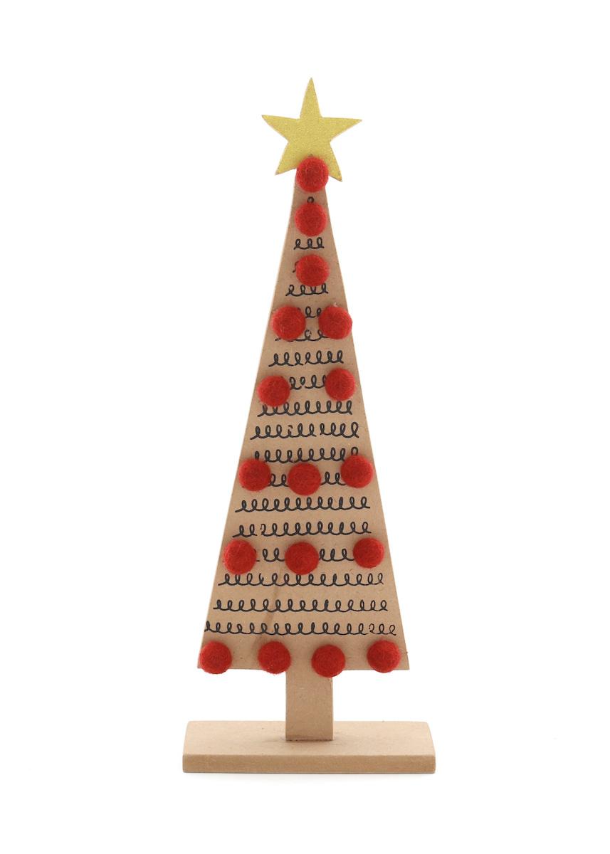 送料無料 温かみのあるウールフェルトをひとつひとつ心をこめて手作りしたクリスマス オーナメント達 merry ウッドツリー大 ウッド アウトレット カラー:RED ウール