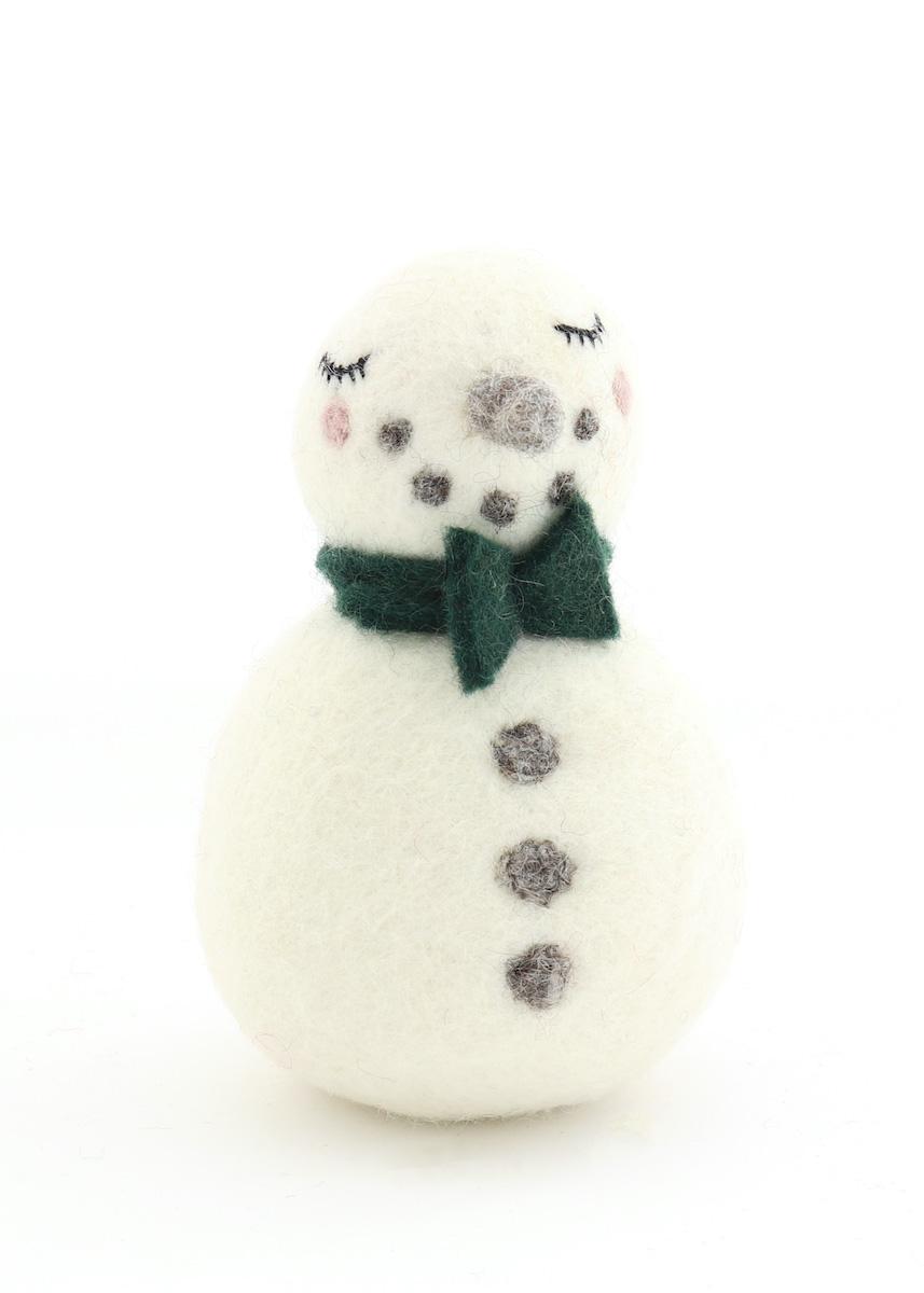 温かみのあるウールフェルトをひとつひとつ心をこめて手作りしたクリスマス オーナメント達 merry ウール100% 2段スノーマン 当店限定販売 カラー:GREEN 新生活