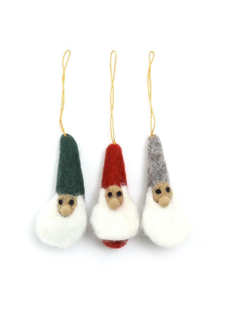 温かみのあるウールフェルトをひとつひとつ心をこめて手作りしたクリスマス オーナメント達 merry 往復送料無料 小人サンタ ウール100% お求めやすく価格改定 カラー:その他