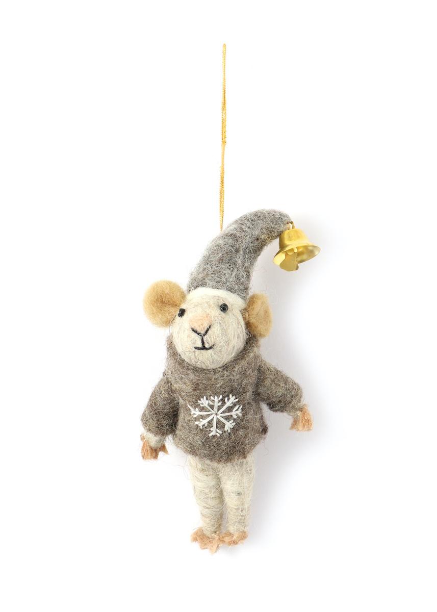 好評受付中 公式ショップ 温かみのあるウールフェルトをひとつひとつ心をこめて手作りしたクリスマス オーナメント達 merry ベルマウス-1 カラー:GREY ウール100%