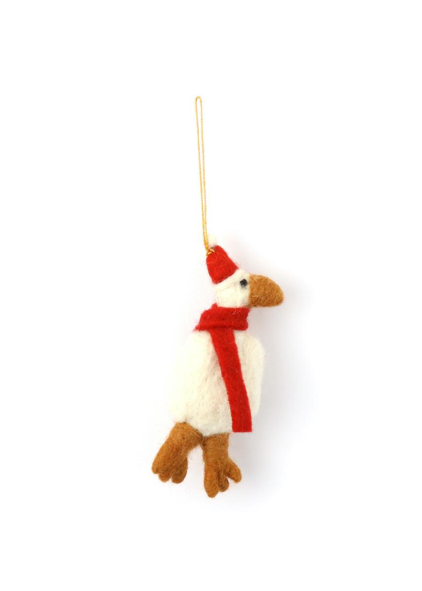 温かみのあるウールフェルトをひとつひとつ心をこめて手作りしたクリスマス オーナメント達 merry ウール100% ☆正規品新品未使用品 カラー:RED お気に入 七面鳥