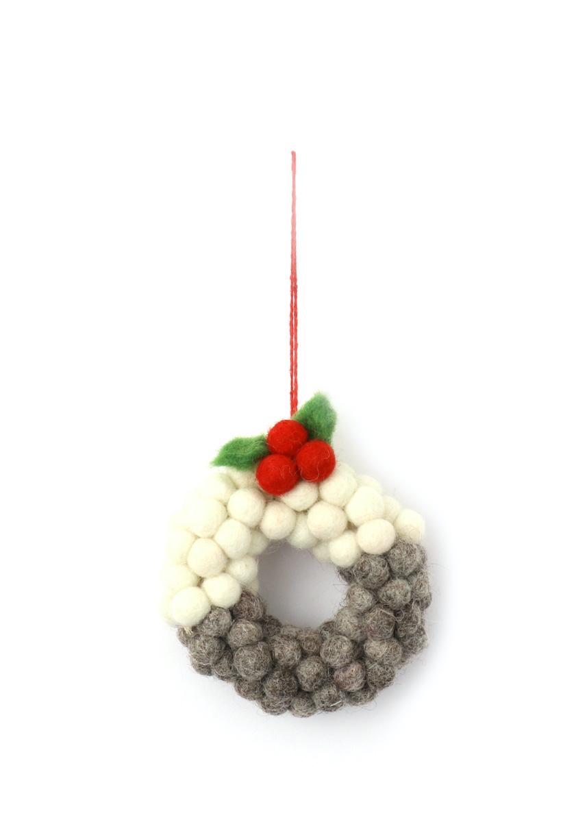 温かみのあるウールフェルトをひとつひとつ心をこめて手作りしたクリスマス 男女兼用 オーナメント達 男女兼用 merry ウール100% カラー:GREY ミニ玉リース