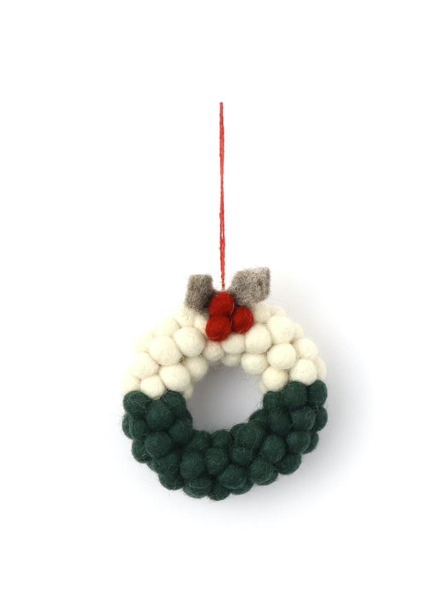 温かみのあるウールフェルトをひとつひとつ心をこめて手作りしたクリスマス オーナメント達 merry 春の新作 カラー:GREEN ミニ玉リース 選択 ウール100%