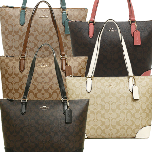 25b37dd1f4a0 Coach bag outlet COACH F29208 zip top Thoth signature canvas Lady's tote bag