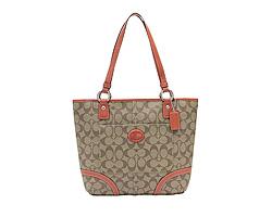Coach COACH bag outlet F18917 SKHP8 peytonheritagisigneure tote bag khaki / persimmon