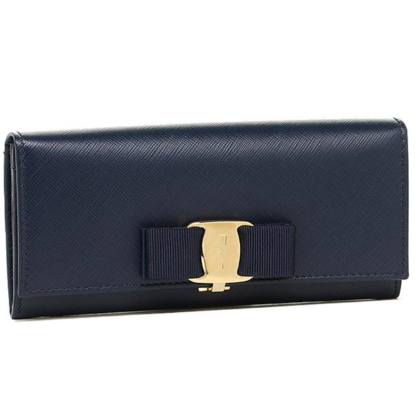Ferragamo wallet Lady's Salvatore Ferragamo 22B559 0560813 MISS VARA long wallet OXFORD BLUE